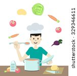 young good looking man in chef... | Shutterstock .eps vector #329346611