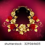 Red Oval Banner With Gold Fram...