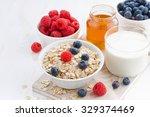 food for a healthy breakfast on ... | Shutterstock . vector #329374469