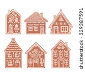gingerbread house. set of... | Shutterstock .eps vector #329387591