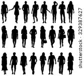 black silhouettes of beautiful... | Shutterstock . vector #329387627