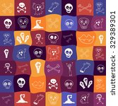 halloween icons seamless... | Shutterstock .eps vector #329389301