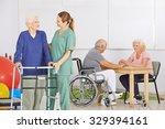 smiling geriatric nurse with...   Shutterstock . vector #329394161