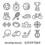 sport icons in trendy linear... | Shutterstock . vector #329397869