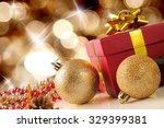 Golden Christmas Decoration On...