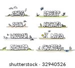 Some of the most common male names drawn by hand.