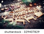 card with gingerbread cookies.... | Shutterstock . vector #329407829