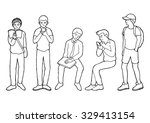 set of human activity in public ... | Shutterstock .eps vector #329413154