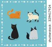 vector cartoon cats | Shutterstock .eps vector #329417924