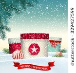 christmas background with three ... | Shutterstock .eps vector #329427599