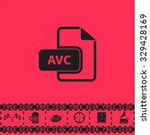 avc file. black flat vector...