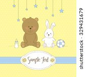 cute greeting card with teddy... | Shutterstock .eps vector #329431679