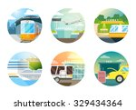 transport stations flat icons... | Shutterstock .eps vector #329434364