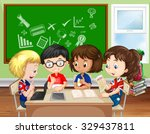 children working in group in... | Shutterstock .eps vector #329437811