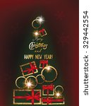 christmas and new year greeting ... | Shutterstock .eps vector #329442554