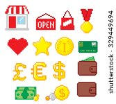 shopping pixel icons set. pixel ... | Shutterstock .eps vector #329449694