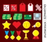 shopping pixel icons set. pixel ... | Shutterstock .eps vector #329449745
