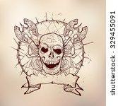 black christmas skull symbol....   Shutterstock .eps vector #329455091