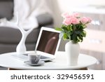 comfortable workplace at home... | Shutterstock . vector #329456591