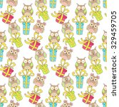 christmas seamless pattern with ... | Shutterstock .eps vector #329459705