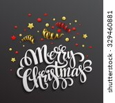 christmas card with confetti... | Shutterstock .eps vector #329460881