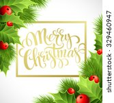 merry christmas lettering card... | Shutterstock .eps vector #329460947