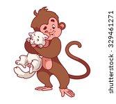 monkey hugging white cat.... | Shutterstock .eps vector #329461271