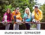 happy friends on hike together... | Shutterstock . vector #329464289