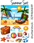 summer theme with toys on the... | Shutterstock .eps vector #329464649