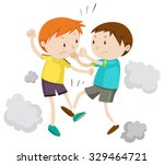 two boy fighting each other... | Shutterstock .eps vector #329464721