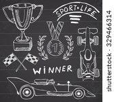 sport auto items doodles... | Shutterstock .eps vector #329466314