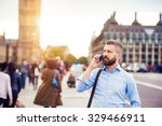 handsome young man with smart... | Shutterstock . vector #329466911