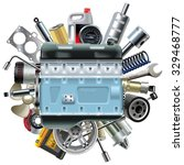 vector motor engine with car... | Shutterstock .eps vector #329468777