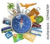 vector tourism concept with... | Shutterstock .eps vector #329468789
