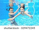 happy children swim in pool... | Shutterstock . vector #329472245