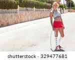 smiling blond caucasian... | Shutterstock . vector #329477681