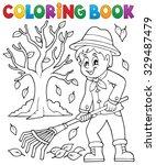 coloring book gardener and tree ... | Shutterstock .eps vector #329487479