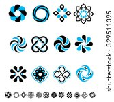 set of 12 geometrical  stylized ... | Shutterstock .eps vector #329511395