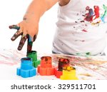 painted child's hand and colors ... | Shutterstock . vector #329511701