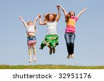 happy mother and two daughter... | Shutterstock . vector #32951176