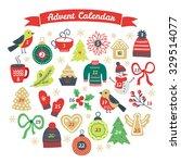 christmas advent calendar with...   Shutterstock .eps vector #329514077