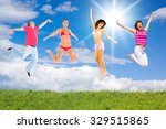 happy friends on a meadow  | Shutterstock . vector #329515865