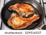 Fried Meat In A Frying Pan....