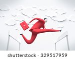 manager overcoming obstacles.... | Shutterstock . vector #329517959