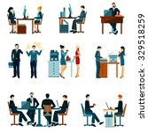 office worker icons set with... | Shutterstock .eps vector #329518259