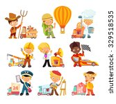 big collection of cartoon kids... | Shutterstock .eps vector #329518535