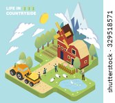 life in countryside concept in... | Shutterstock .eps vector #329518571