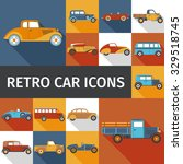 old cars and retro autos flat... | Shutterstock .eps vector #329518745