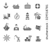 Sea Port Black Icons Set With...