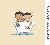 bathing   Shutterstock .eps vector #32951977